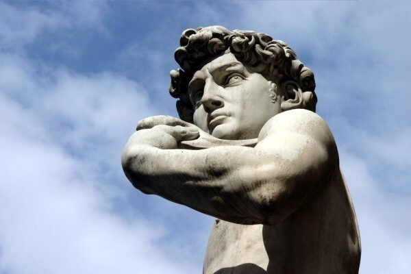 Florence - sculpture of David in Piazza della Signoria with sky behind