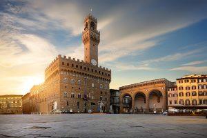 Florence - Medieval Palazzo Vecchio in Piazza della Signori, classic Medieval architecture