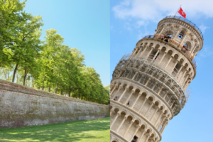 split image of the ancient wall of Lucca and the Leaning Tower of Pisa