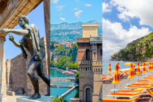 split image of the Pompei ruins, the Sorrentine peninsula and the beach in Positano