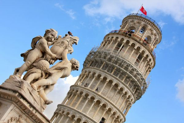 Pisa - the Leaning Tower and sculpture of cherubs
