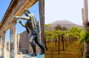 split image of a temple and sculpture at Pompei and vineyard with Mt. Vesuvius in the distance
