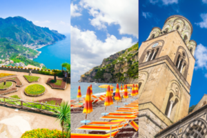 split image of the view of the Amalfi coast from Ravello, the seaside in Positano, the cathedral in Amalfi