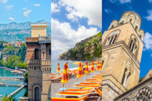 split image of the Sorrentine peninsula, the seaside in Positano, and the cathedral in Amalfi