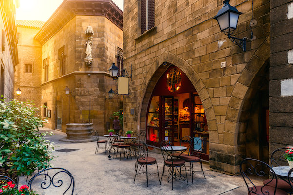 The Gothic Quarter: stone buildings and narrow streets reflect Barcelona's Medieval past.