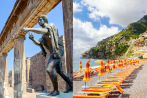 split image of a temple and scuplture of Apollo at Pompei and the beach with colorful umbrellas in Positano