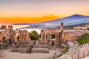 Taormina - amphitheatre and Mt. Etna