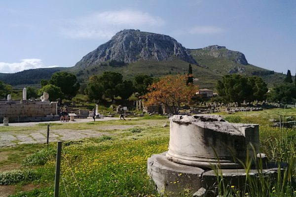 Corinth broken column and acropolis