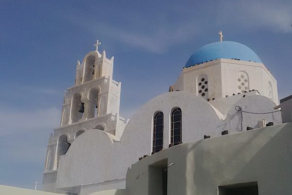 Blue-domed church in Pyrgos