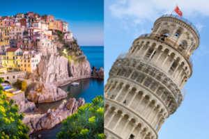 split image of Manarola in the Cinque Terre and the Leaning Tower of Pisa
