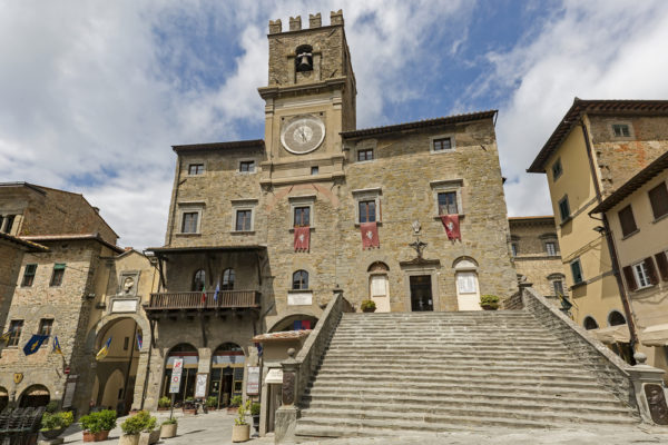 Cortona's Medieval town hall and clock tower