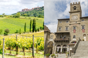 rolling hills and vineyards near Montepulciano and the Medieval town hall with clock tower in Cortona