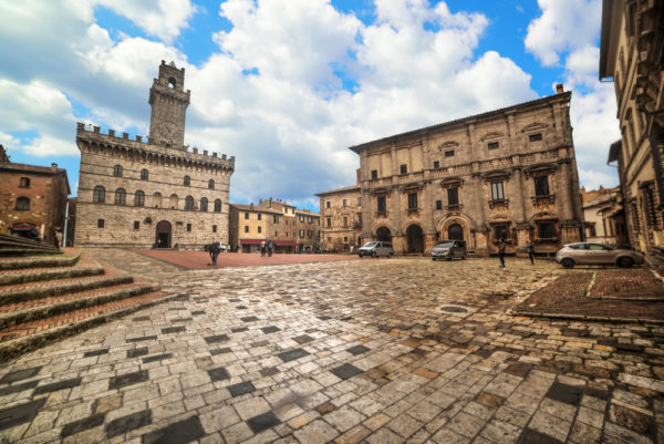 Gothic Palazzo Comunale and elegant Renaissance palace in Piazza Grande, Montepulciano