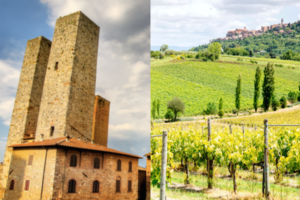 split image of towers of San Gimignano and vineyards with Montepulciano in the distance