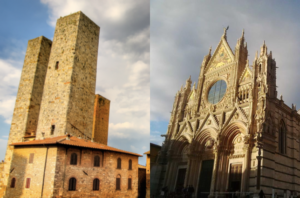 Medieval towers of San Gimignano and the splendid cathedral of Siena