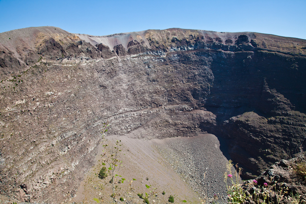 looking into the crater of Mt. Vesuvius