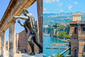split image of the temple and sculpture of Apollo at Pompei and the Sorrentine peninsula