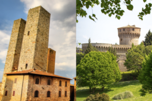 Medieval towers of San Gimignano and fortress of Volterra