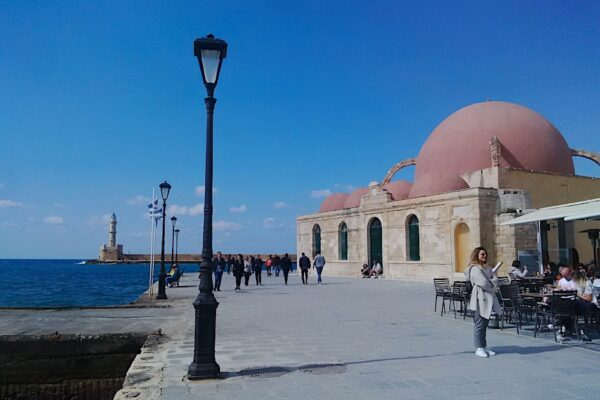 mosque and the Venetian port of Chania