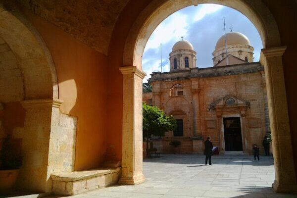 the tranquil and beautiful monastery of Agia Triada Tzagarolon on the Greek island of Crete