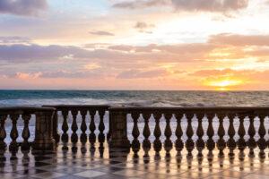 sunset, sea and balustrade at Terrazza Mascagni, Livorno